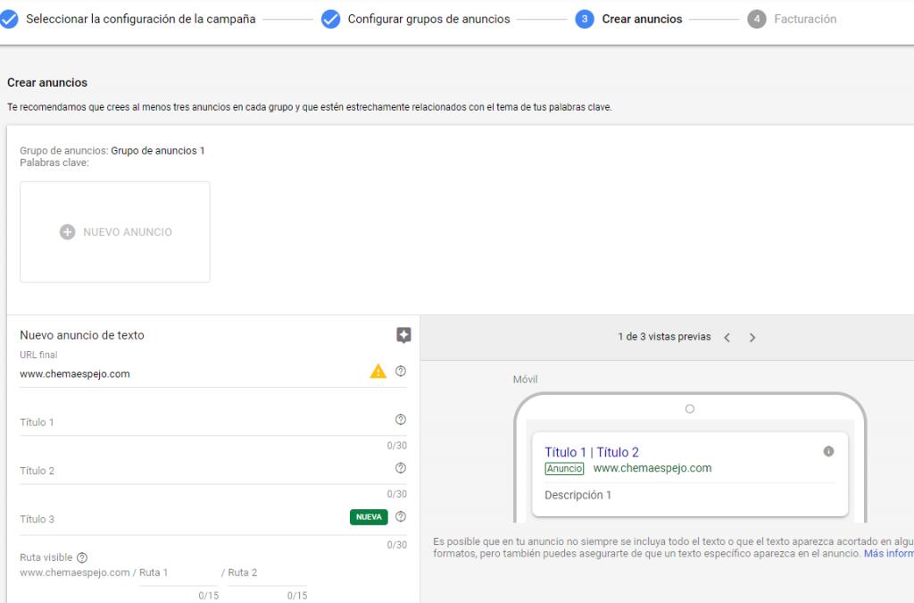 Espacio escribir anuncio Google